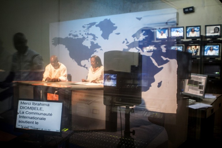 News broadcasts continue at state-run TV station ORTM in the capital.