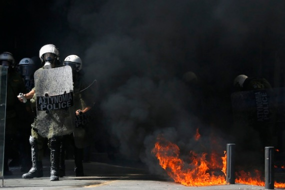 Greek police clashed with rioters in downtown Athens last week during a 24-hour general strike [Reuters]