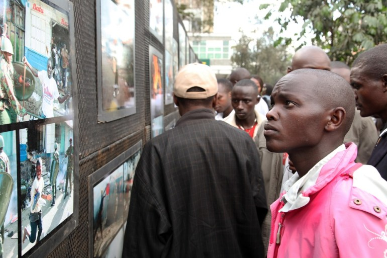 Mwangi takes his photographs to numerous towns around the country. This display includes intense pictures of the chaos that followed the 2007 elections, in which more than 1,100 people were killed and up to 600,000 forcibly displaced.