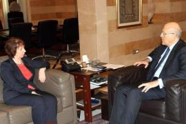 Lebanese Prime Minister Najib Mikati, right, met with Catherine Ashton during her visit [AFP]