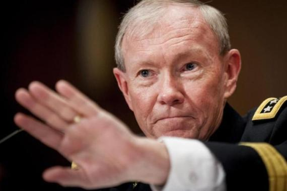 "US Chairman of the Joint Chiefs of Staff General Martin Dempsey has been holding ""strategic seminars"" over a giant map of the world larger than a basketball court [EPA]"