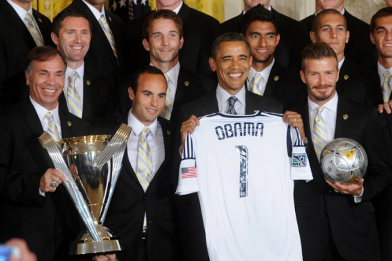 Obama welcomes Major League Soccer champions LA Galaxy, with David Beckham, to the Whitehouse in May [EPA]