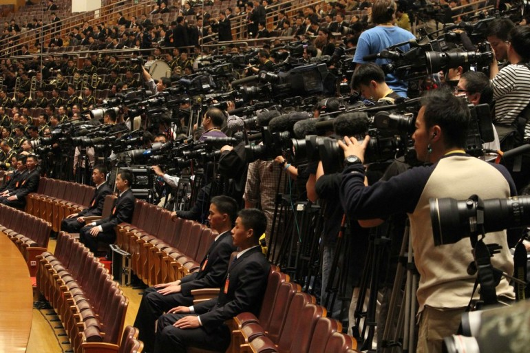 Some of the 1,704 overseas journalists who received accreditation to cover the National Congress.
