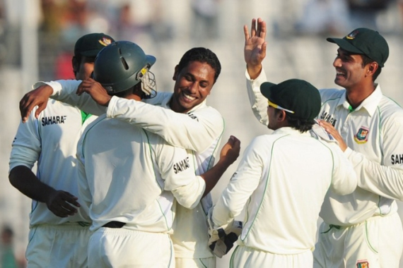 Bangladesh struck back with debutant Sohag Gazi taking two wickets to halt the West Indies flow [AFP]