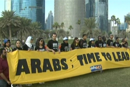 Protest in Qatar calls for climate action
