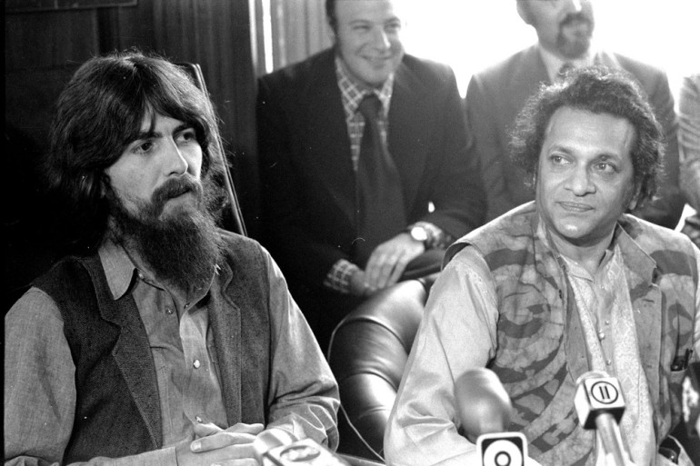 Shankar, here pictured with George Harrison, went on high profile tours and helped millions of classical, jazz and rock lovers in the West discover the centuries-old traditions of Indian music over a eight-decade career.