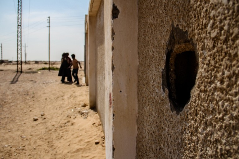 In the town of Muqata(***)a, buildings show damage from shelling and gunfire. The town is said to be a hotbed of hard-line groups who clashed with the army during Operation Eagle, launched after 16 Egyptian soldiers were killed in August.