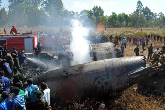The ageing Fokker-100 jet crashed while attempting to land in heavy fog, breaking its tail and catching fire [AFP]