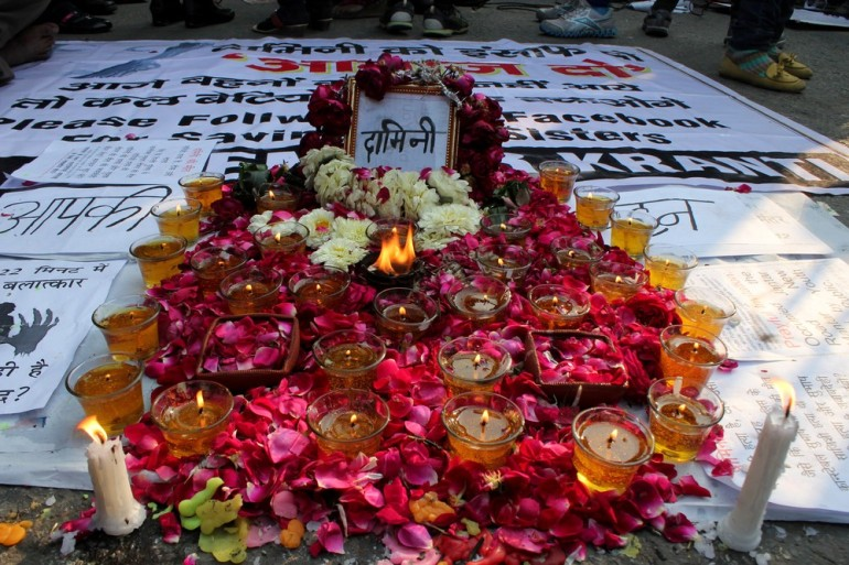"People prayed for the victim and paid homage to her by lighting candles and placing flowers. The deceased medical student has been given the symbolic name of ""Damini"", drawing inspiration from a 1993 Hindi film about a woman(***)s struggle for justice for a rape victim."