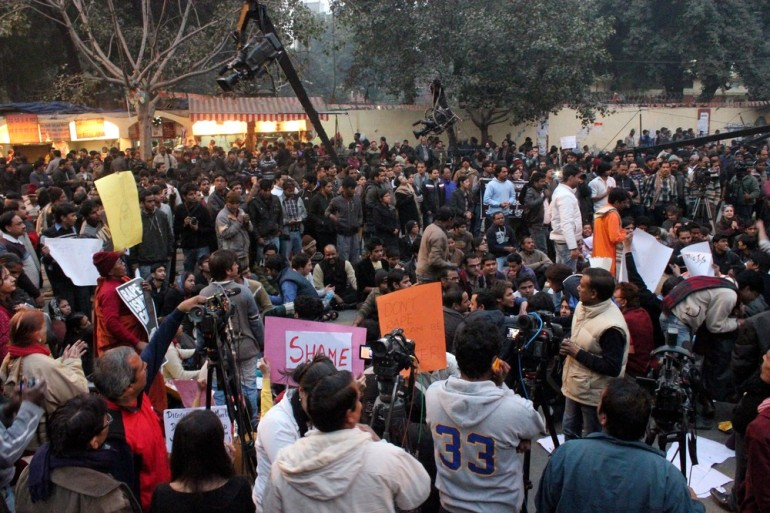 Protesters and media engulfed the 18th century Jantar Mantar observatory.