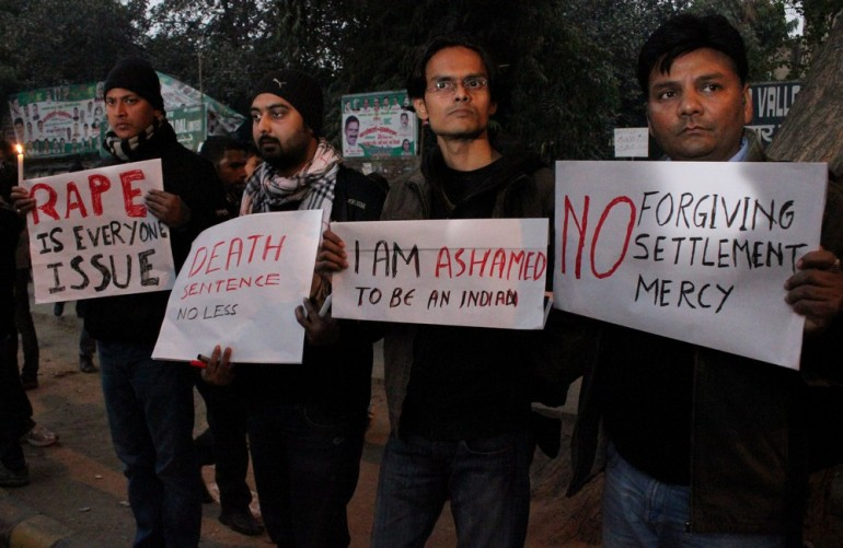 Men and women were both protesting against the violence shown towards women in India.