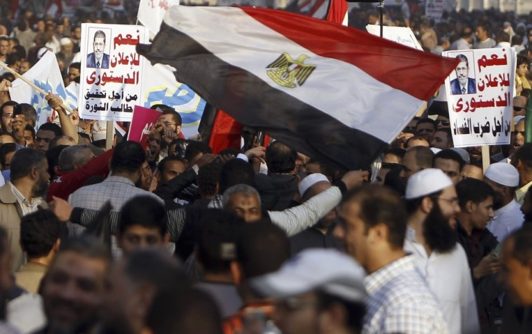 Tens of thousands of Islamists demonstrated in Cairo on December 1, in support of President Mohamed Morsi, who is trying to defuse opposition fury over his newly expanded powers.