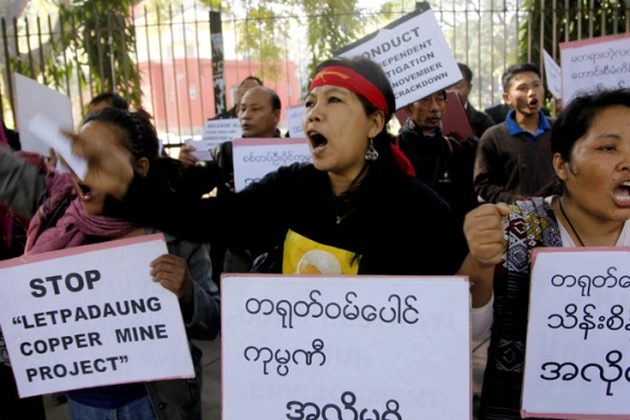 The state attack on Letpadaung copper mine protesters goes beyond a simple bid to stifle dissent [EPA]