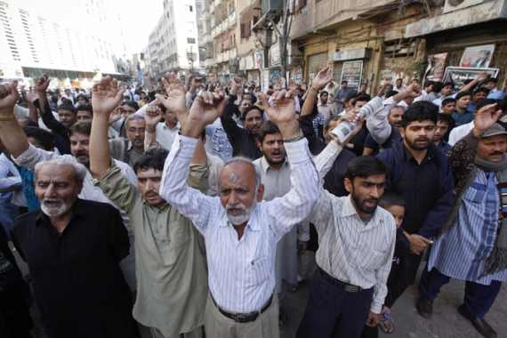 Protests were also held in solidarity with Shia Muslims in Karachi, Lahore, Islamabad and elsewhere [Reuters]