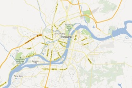 View of Google's map of Pyongyang, the North Korean capital [Google]