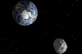 Passage of asteroid 2012 DA14 through the Earth-moon system, is depicted in this image from NASA [Reuters]