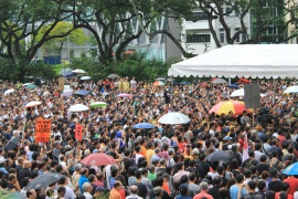 Thousands of Singaporeans demonstrated Saturday against plans to boost the population [Heather Tan/Al Jazeera]