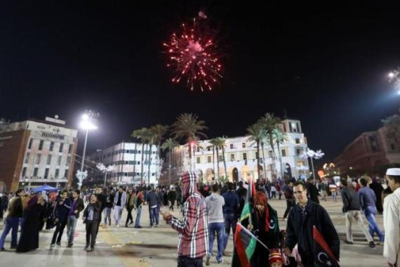 The anniversary celebrations come as Libya's new rulers battle critics calling for a 'new revolution' [AFP]