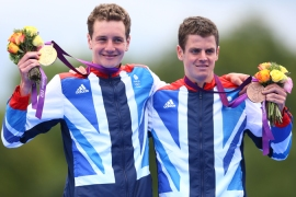 Alistair Brownlee, pictured left, won triathlon gold at the London Games as younger brother Jonny, right, took bronze [GALLO/GETTY]