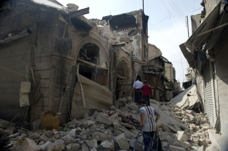 ... was badly damaged by a blaze that started on September 28, 2012, destroying much of the souq as rebel forces clashed with Syrian government troops.