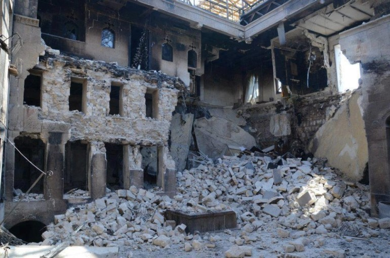 The historic establishment has been damaged by the fighting in Aleppo(***)s old district.
