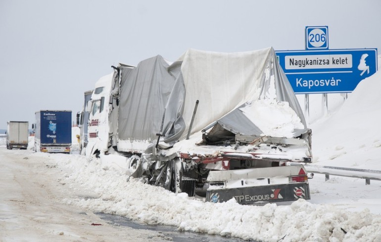 This damaged truck stands at the site of an accident at the E71 motorway, near the Croatian, Slovenian and Hungarian borders.