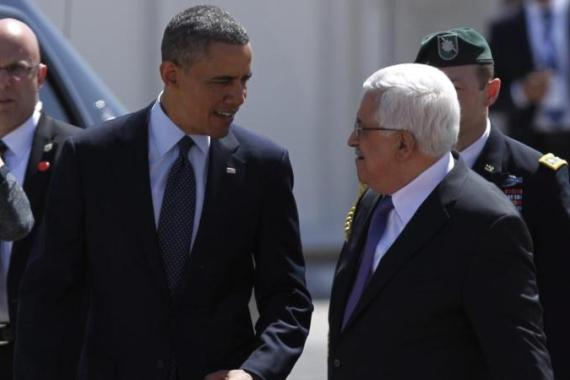 """There was something pathetic about Abbas standing by Obama's side in Ramallah... Obama travels by private jet and armoured car, while Abbas cannot even move freely without Israel's permission,"" writes author [EPA]"