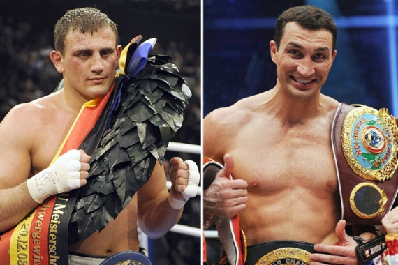 Klitschko, pictured right, holds the IBF, IBO, WBO and WBA crown and will meet his former sparring partner Francesco Pianeta, left, in May [AFP]