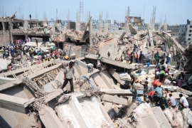 More than 200 people, including many garment workers, died when a building collapsed in Dhaka [AFP]