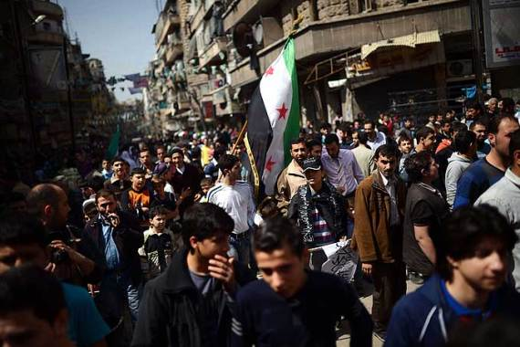 Anti-regime demonstrations in Aleppo continued as rebels claimed new territorial gains on Friday [AFP]