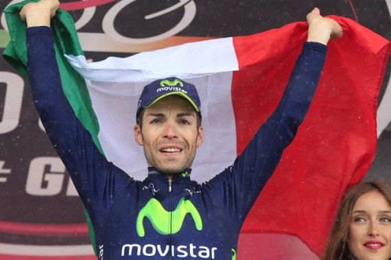 Movistar's Visconti held off a charge from the peloton to take his maiden Giro stage win 42 seconds ahead of Carlos Betancur and Prezemyslaw Niemiec [AFP]