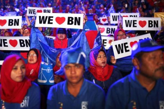 The Barisan Nasional coalition won recent elections, but now faces factional in-fighting [AFP]