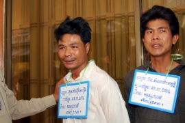 Few believe that the two men convicted for the 2004 killing, Sok Samoeun, left, and Born Samnang, are guilty [EPA]