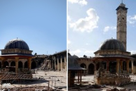 The minaret of the 12th century Umayyad mosque in Aleppo has been destroyed by shelling [Aleppo Media Center]