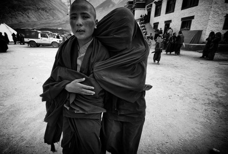 Young monks in Chumathang, near the region of Aksai Chin, which is disputed by China and India.
