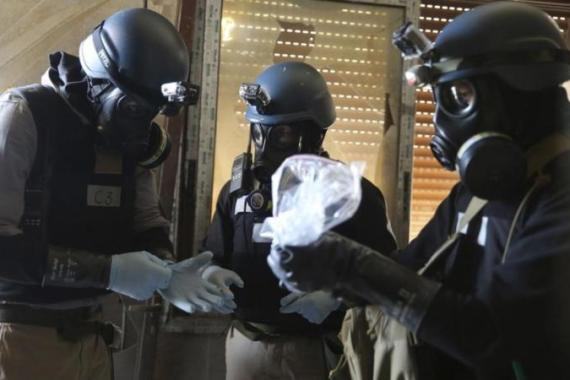UN chemical weapons experts have been collecting samples from around Damascus [Reuters]