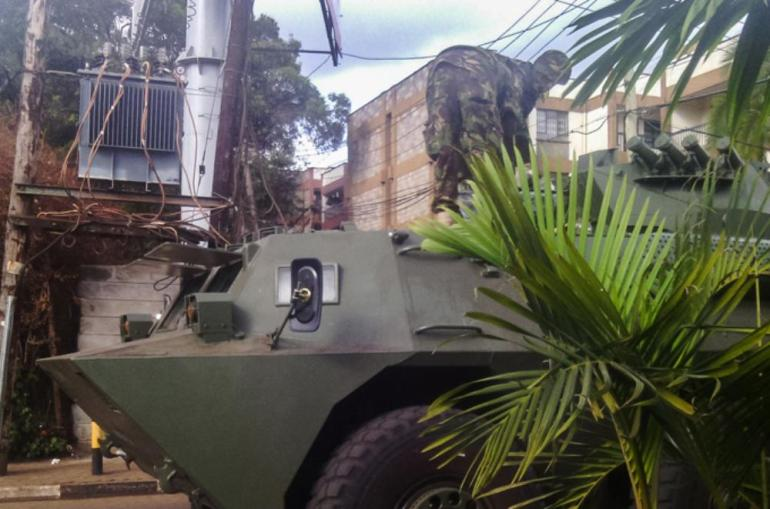 Kenyan soldiers ready an armoured personnel carrier used to support an assault on al-Shabab militants in Nairobi on Sunday evening.