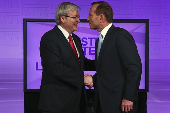 Rudd and Abbott have both offered tough policies on the issue of asylum-seekers [Getty Images]