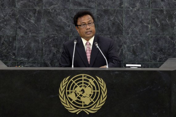 Tommy Esang Remengesau, President of Palau, addresses the 68th session of the General Assembly at United Nations headquarters, Wednesday, Sept. 25, 2013. [AP]