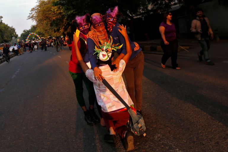 Most of the gay parade participants wore masks [Reuters]