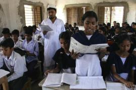 More than 60% of the students in Orgram Chatuspalli High Madrassa are non-Muslims [Shaikh Azizur Rahman/Al Jazeera]