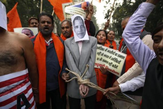 Protests have been held across Indian cities, deploring the arrest of Indian envoy in New York [AP]