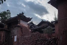 Ancient home of the Huang merchant family, at dusk in Nuodeng.