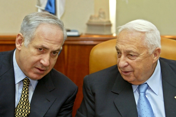 Prime Minister Benjamin Netanyahu, left, expressed 'deep sorrow' over Sharon's death [EPA]