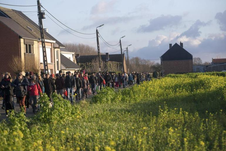 The march passed through cities, villages and the Belgian countryside.
