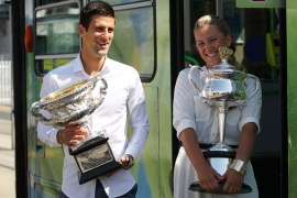 Novak Djokovic and Victoria Azarenka both won their maiden Grand Slams at the Australian Open [Getty Images]