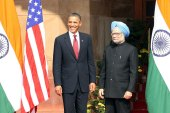 "President Obama, left, has called India-US relations the ""defining partnership of the 21st century"" [EPA]"