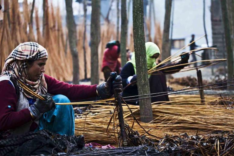 Kashmiri women peel wicker sticks on the outskirts of Srinagar.