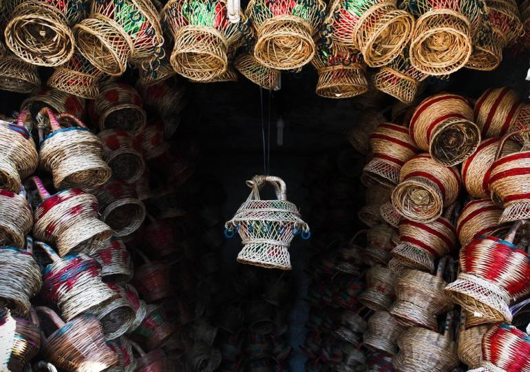 A decorative kangri on display in a shop on the outskirts of Srinagar.
