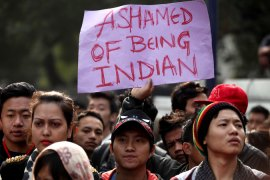 Hundreds of people from northeast protested in Delhi over the death of the student [EPA]